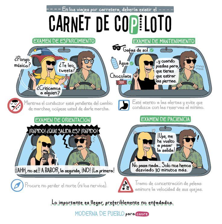 B1/C2 - Hablemos de los viajes en coche. ¿Conduces o eres el/la copiloto? Las profesoras de @sonoraele tienen bastantes anécdotas que explicar ;-) Viñeta de Moderna de Pueblo http://modernadepueblo.com
