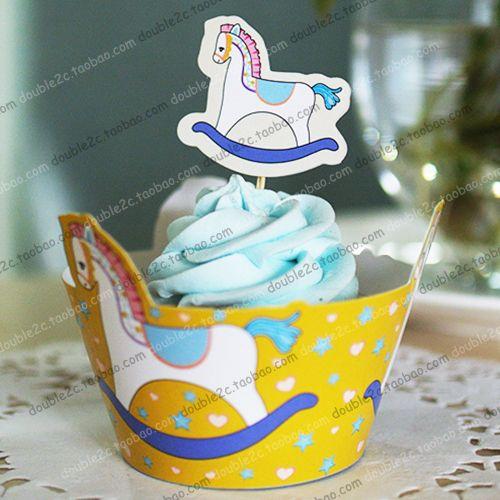 Деревянный конь завертчицы украшения на день рождения ну вечеринку выступает для детей, Чашки торт ботворезы выбирает поставки ( 12 шт. обертывания 12 цилиндры )