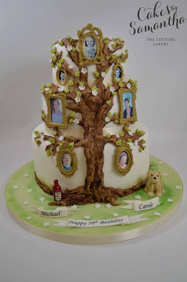 Beautiful family tree cake. | tree cakes | 90th birthday ...