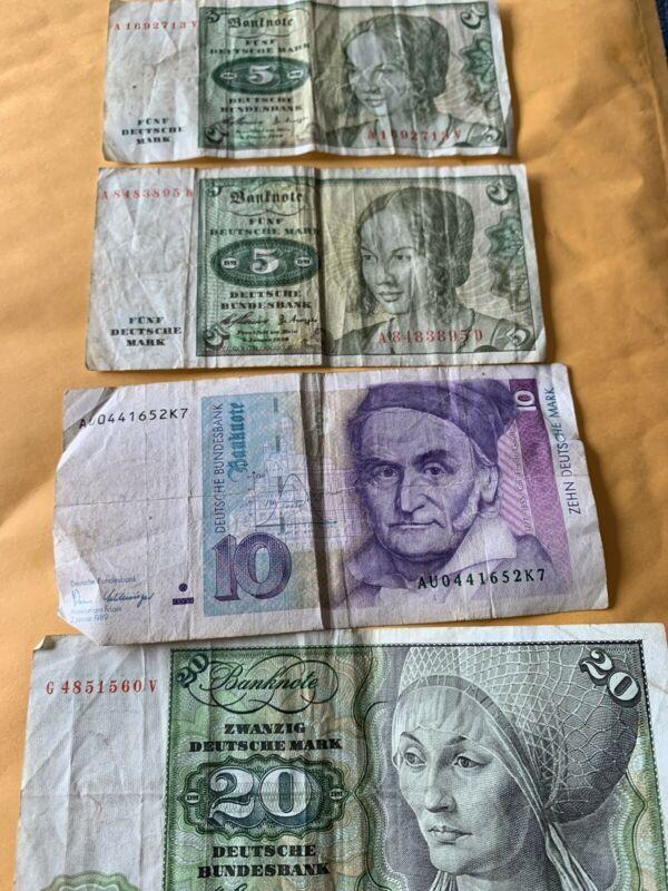Collecters Item 40 Germany Deutsche Mark 1960 X 3 And 1989 Bank Notes Germany Deutsch