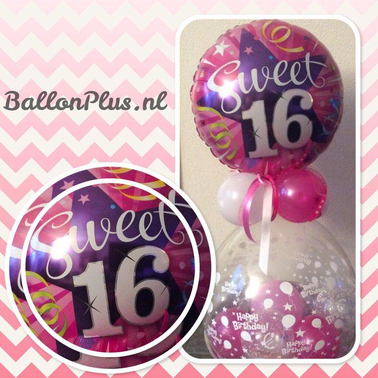 Geld Kado Ballon Sweet 16 van BallonPlus.nl