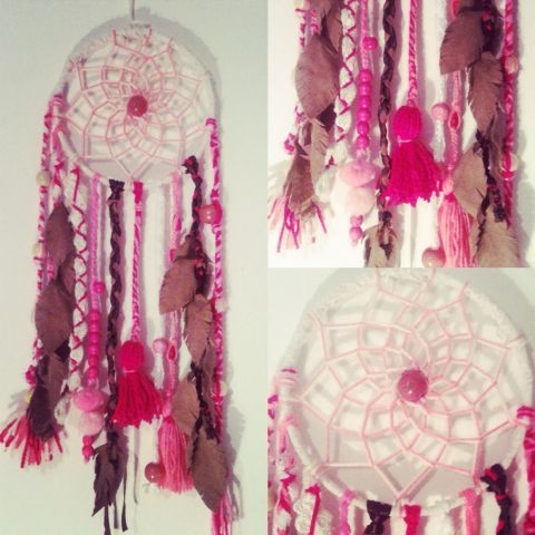 #MyDreamcatcher a pedido para una amante del rosa!!! #design #diseño #deco #magic #verde