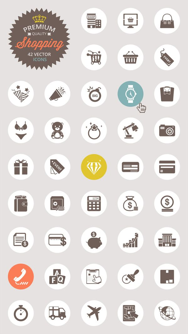 Free shopping vector icons pack