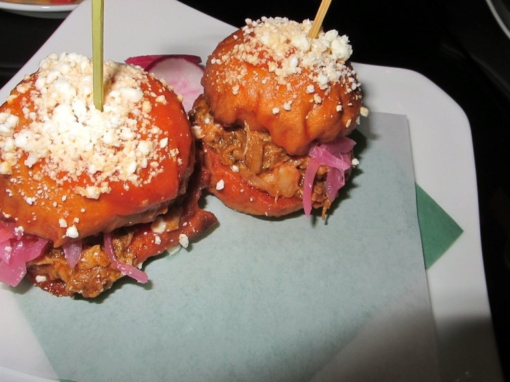 Mini Tortas. Pork Carnitas, Arbol Chili Sauce, Red Onion, Radish.    Image via Adam Rubenstein of Viva LA Foodies.