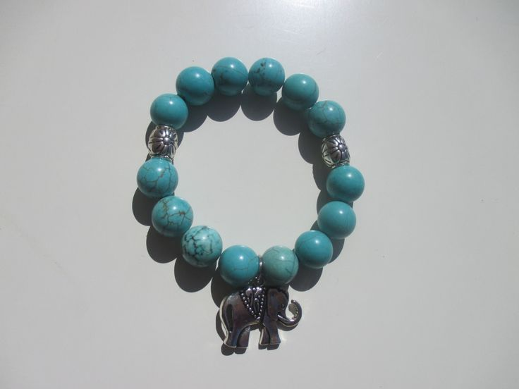 Turquoise colored Howlite with Tibetan Silver Elephant charm by StayingGrounded on Etsy
