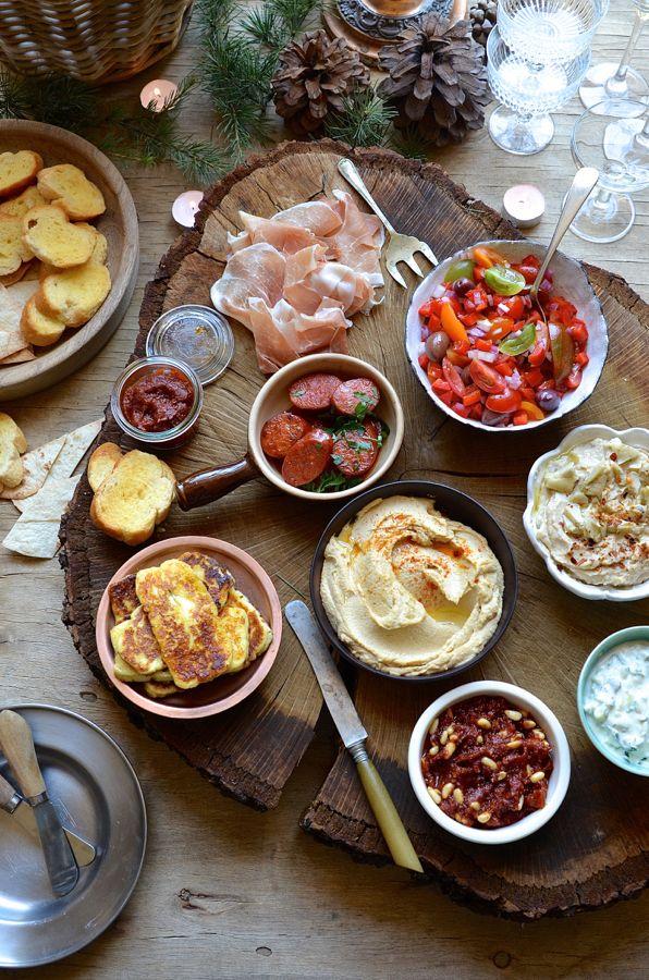 A portable tapas bar with punchy Mediterranean flavours. Ultra smooth hummus, artichoke dip, sun-dried tomato pesto, chorizo and zucchini tzatziki.