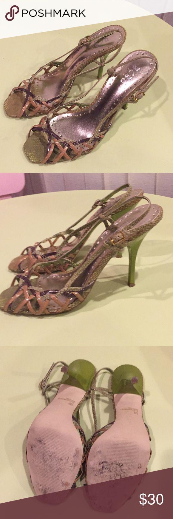 BCBG Paris green beige heels sandals Worn once , heels very comfortable for the height of heel , heel height 4 in. Size 10 BCBG Shoes Heels