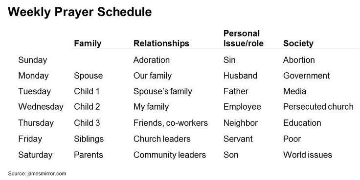 Weekly Prayer Schedule