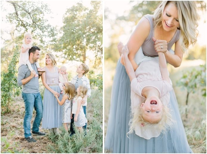 Great outfit choices. Good example of color coordinating for a family session. Katie Lamb Photography