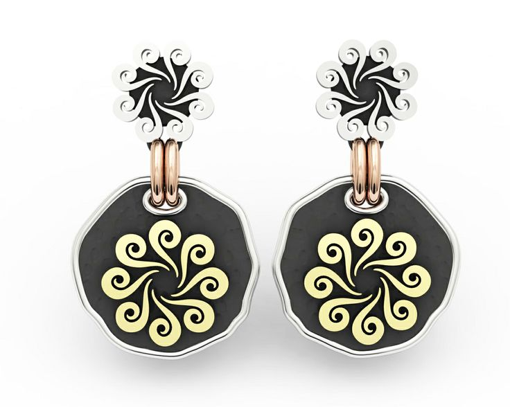 925 Sterling Silver Earring Pink & Yellow 18k. Gold #bohemme #jewelry #earrings #fashion