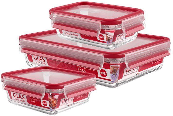 EMSA Clip & Close Frischhaltedosen Glas, 3-teiliges Set, rot, Set besteht aus: 1 x 500 ml, 1 x 900 ml, 1 x 2000 ml Dosen online kaufen | hygi.de