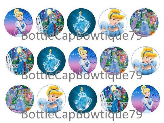 Disney Princess Bottle Cap Images, Cinderella Bottle Cap Images $0.99