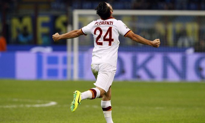 Florenzi celebrating his goal against Inter. #AsRoma