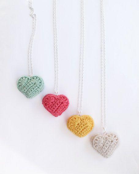 heart necklace, plush crocheted heart pendant, rainbow summer colours,kawaii, cute jewelry