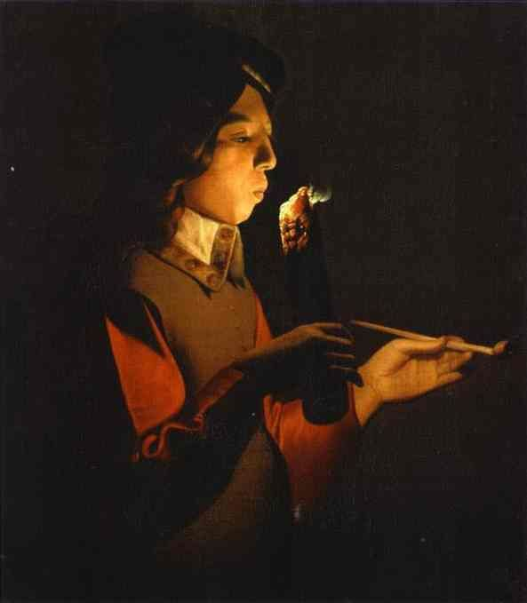 Georges de La Tour (1593 – 1652, French)-Blower with a Pipe. Oil on canvas. Tokyo Fuji Art Museum, Tokyo, Japan.