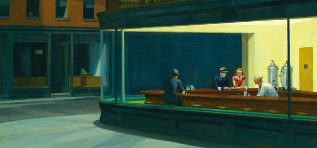 """Nighthawks - Edward Hopper (1942) """"Let me count the ways! It has a feeling more like old Disney than a Carravaggio, but none the less fascinating for that."""" KB"""