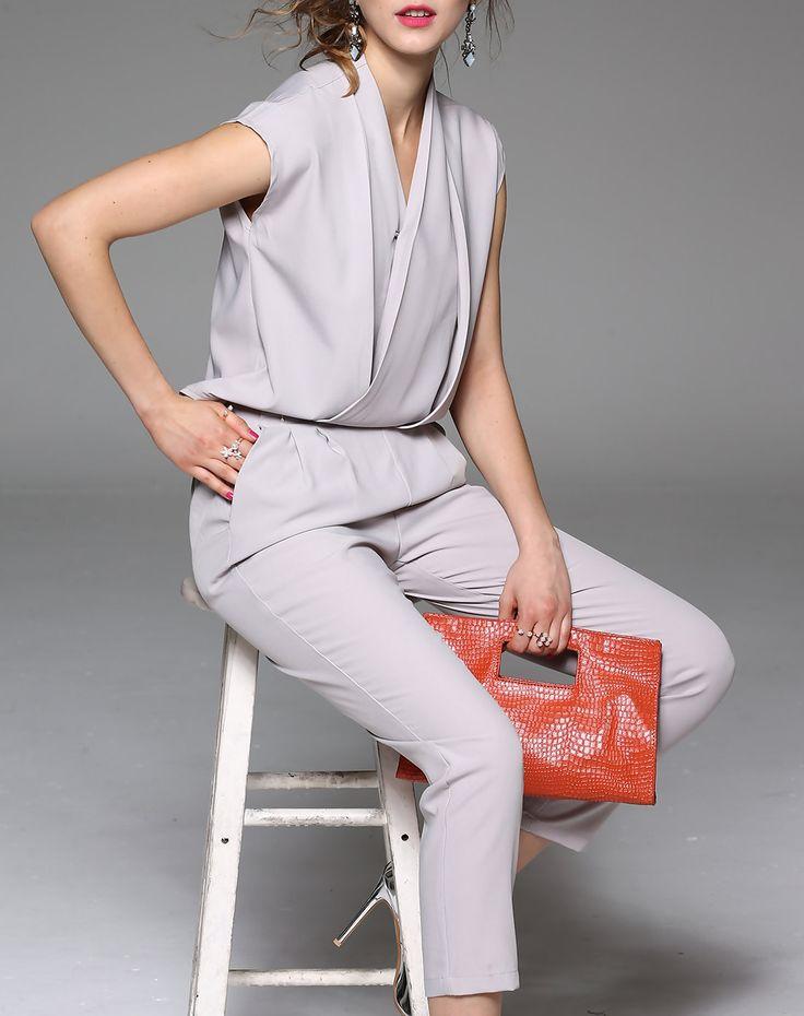 Gray Plain Cap Sleeve V Neck Elegant Jumpsuit
