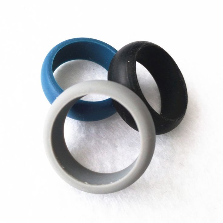 Men Finger Rings Rubber Silicone Soft Touch Wedding Romantic Love Ring for Band 3 Colors Gray Black Blue 3pcs in an Bag