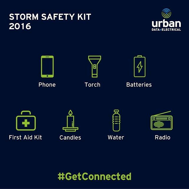 After the South Australian #storms this week, take a moment to make sure your home is ready in case you lose #electricity supply. Check out our #infographic below and put a kit together. #safetyfirst #Brisbane #electrician #GetConnected