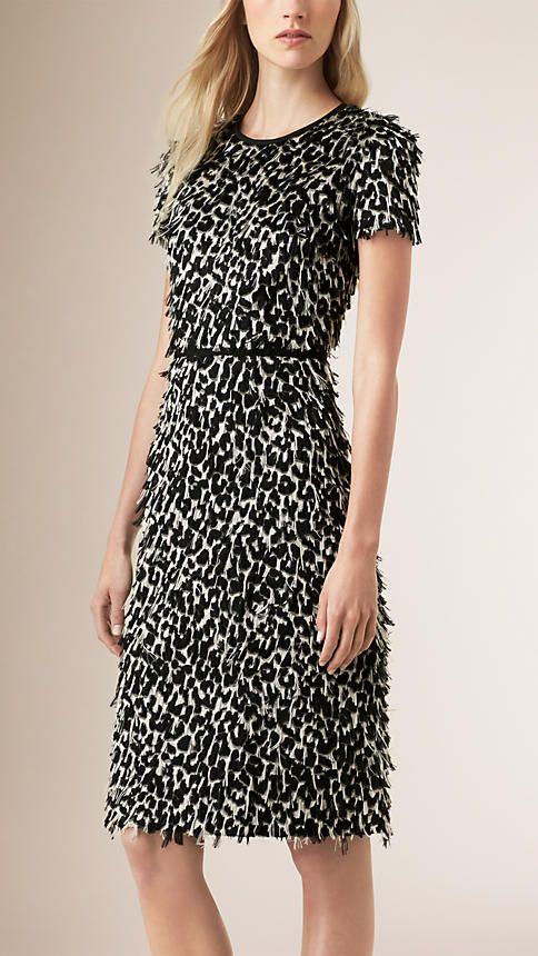 Off white/black Animal Print Fil Coupé Shift Dress - Image 1
