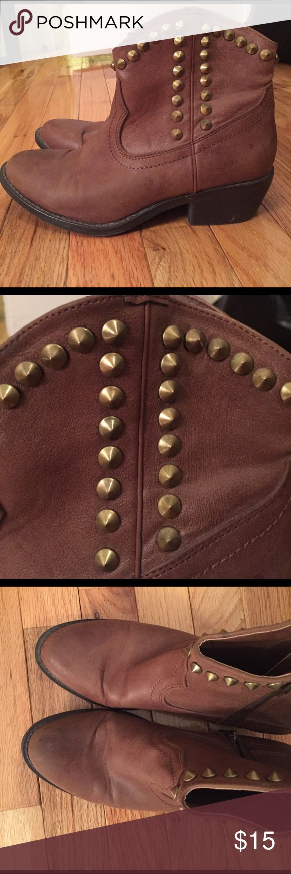 Mossimo Short studded cow boy boots 6.5 Cute short cowboy boots with studs and pointed toe, brown. size 6.5, Original $29.99, selling for $15 Mossimo Supply Co Shoes Ankle Boots & Booties