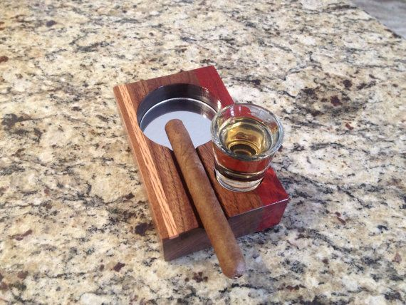 Walnut, Padauk and Oak Cigar Ashtray With Shot Glass Inset