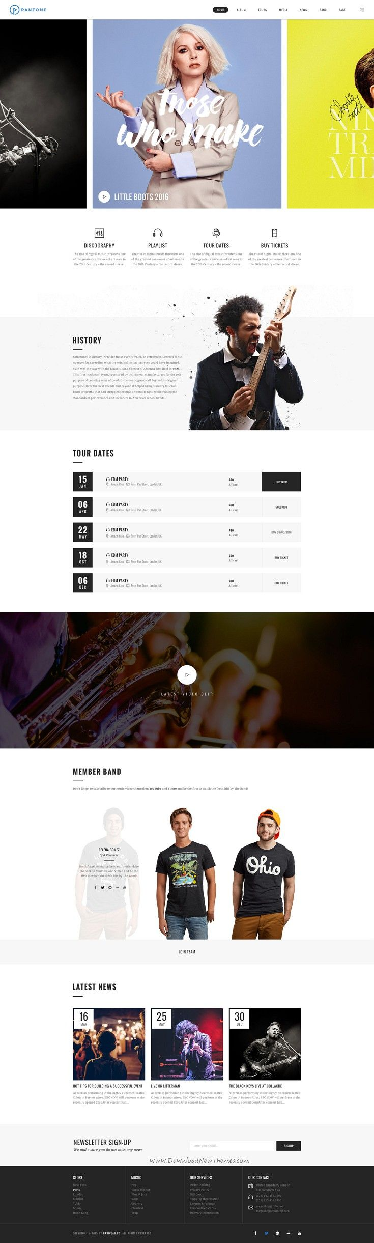 Pantone is unique and modern design #PSD Template for Music & #Brand #website. Download Now➯ http://themeforest.net/item/pantone-music-band-psd-template/16148969?ref=Datasata