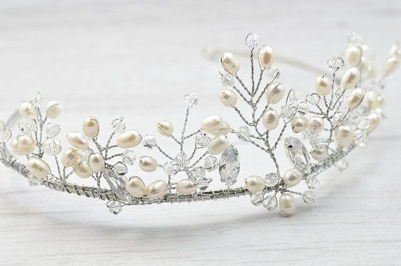 Eye – catching, natural pearls and crystals handcrafted tiara. You will look as a princess I believe you will feel as a princess too.  Clear