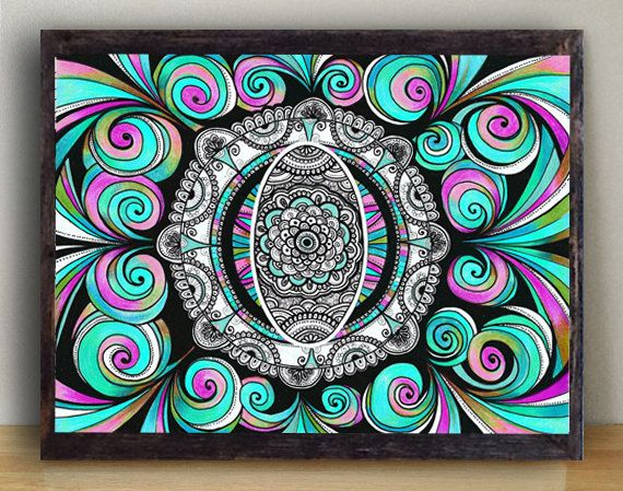 Living Room Wall Art Decor Large PRINT, Blue Pink Psychedelic Drawing Wall Decor, Zentangle Art Mandala Drawing, Bohemian Wall Home Decor by DHANAdesign on Etsy