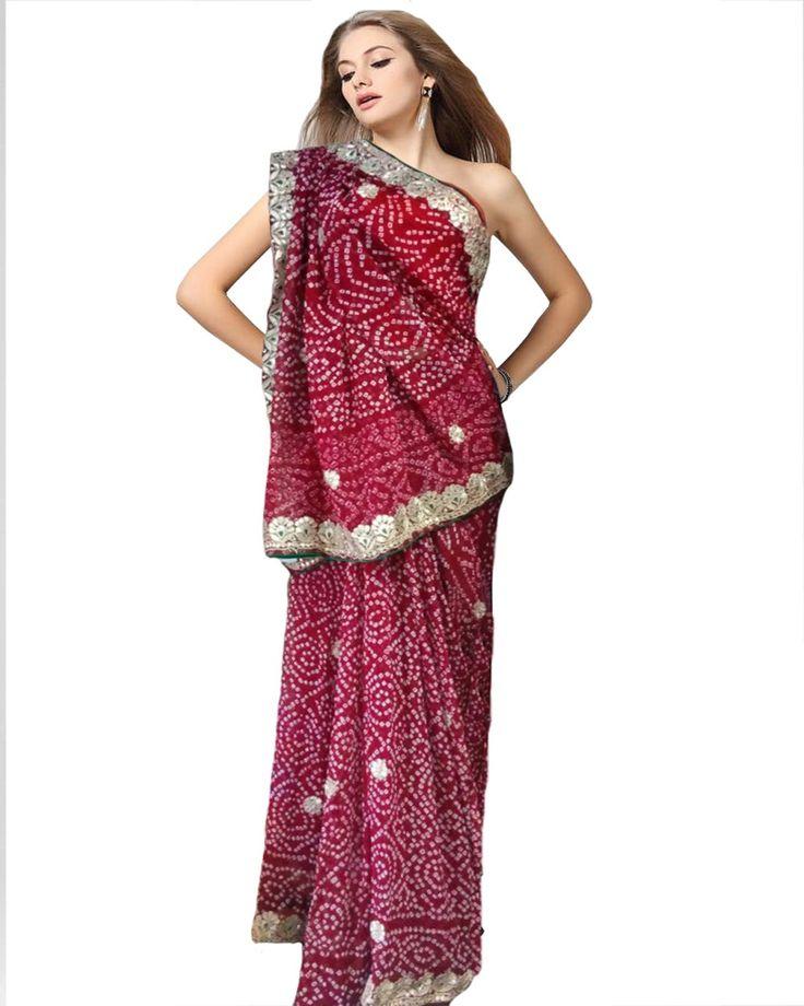 Red Color Gota Patti With Bandhni Print Saree http://www.sulbha.com/color-gota-patti-with-bandhni-print-saree-p-9469.html
