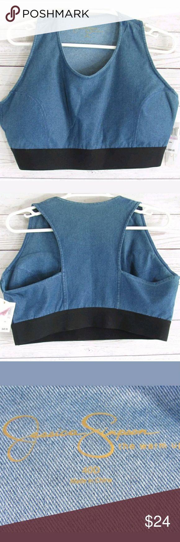 Warm up denim sports bra New with tags. Size 40D MSRP $48.00 Jessica Simpson Intimates & Sleepwear Bras
