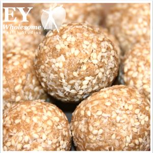 Sesame Power Balls 1 375g jar organic unhealed tahini 1 cup blanched almond meal 1/2 cup preservative free desiccated coconut 1/4 cup sesame seeds 2tbsp of raw organic honey- or to taste 2 heaped tsp pure vanilla extract- or to taste