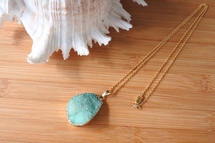 Gem stone druzy jewelry 14kgf necklace