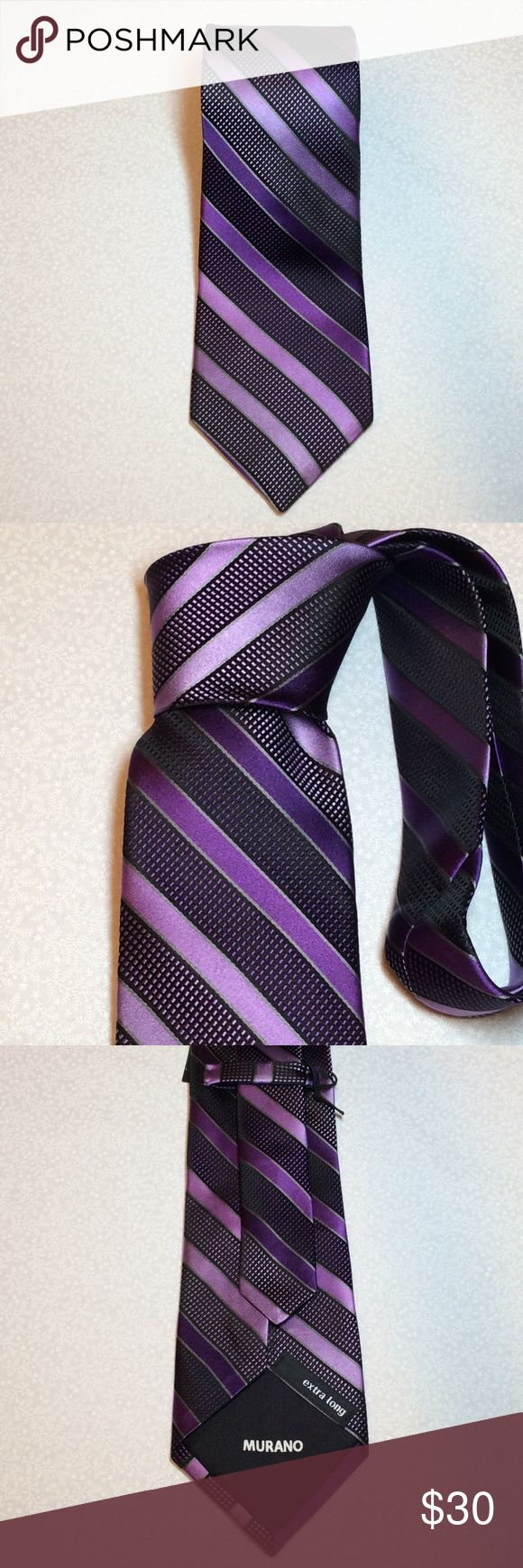"""Men's extra long purple stripe tie NWT NWT men's extra long purple stripe tie.  64"""" in length.  If you have ever gone looking for extra long ties for that big and tall man in your life you know how hard they are to find.  Questions???  Please ask Cremicux Accessories Ties"""