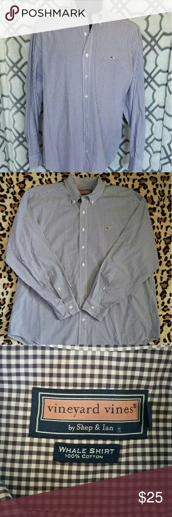 Men's Vineyard Vines Button Down Shirt Casual button down, long sleeve, size L, purple and white checkered Vineyard Vines Shirts Casual Button Down Shirts