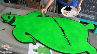 The Daily DIYer: DIY 4 Foot Tall Oogie Boogie Yard Art Nightmare before Christmas, halloween, lawn, decorations, neon, blacklight, glow, painted, spray paint, tutorial