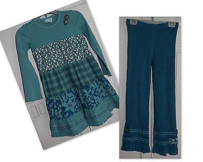 Naartjie Girls Outfit Plaid Floral Dress Dropy Crochet Trimmed Pants Zeal 6 7 js