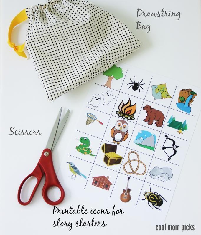 Adorable, easy DIY: A story starters grab bag for kids, with free printable artwork.