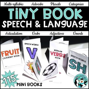 These print-and-go pages include 97 mini books targeting 40 phonemes, blends, and multi-syllabic words for articulation. There are also 18 books for language targets including verbs, categorization/object naming, WH questions plurals, adverbs, and adjectives.