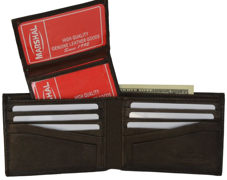 Leather Men Bifold Wallet Removable ID Case Hidden Compartment 589 CF (C)
