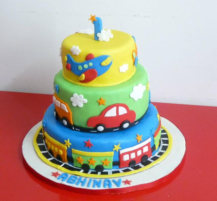 Nice colorful Fondant Cake for Boy ..Train, Airplane, Cars