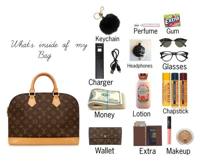 """What's inside of my bag"" by dogs109 ❤ liked on Polyvore featuring Burt's Bees, Louis Vuitton, Royce Leather, NARS Cosmetics, Forever 21, Ray-Ban, MICHAEL Michael Kors and Morgan Lane"