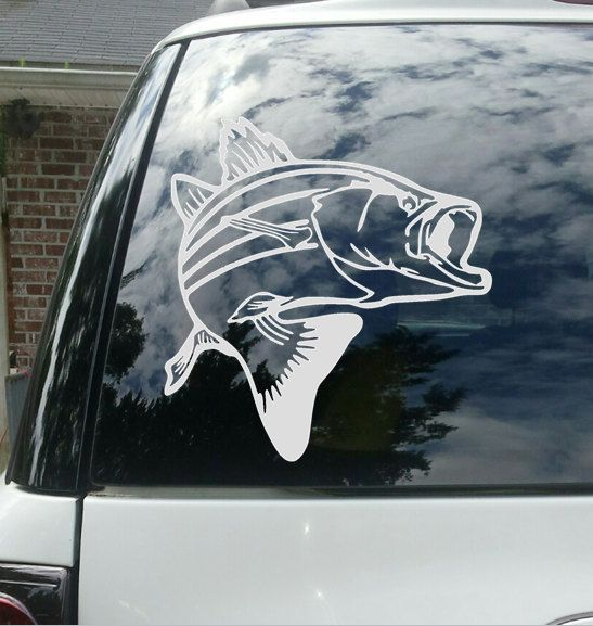 Bass fishing vinyl decal wall art room decor wildlife personalize fish sticker game custom by