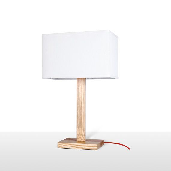 Modern Bedroom Table Lamp with Wooden Base White by ParrotUncle, $193.99