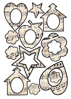 ArtbyJean -   Vintage Sheet Music: Set 003.  A plethora of great free printable images, alphabet sets, box templates, frames, geometric shapes, labels, tags, signs, scrapbooking & paper craft ideas & inspiration.