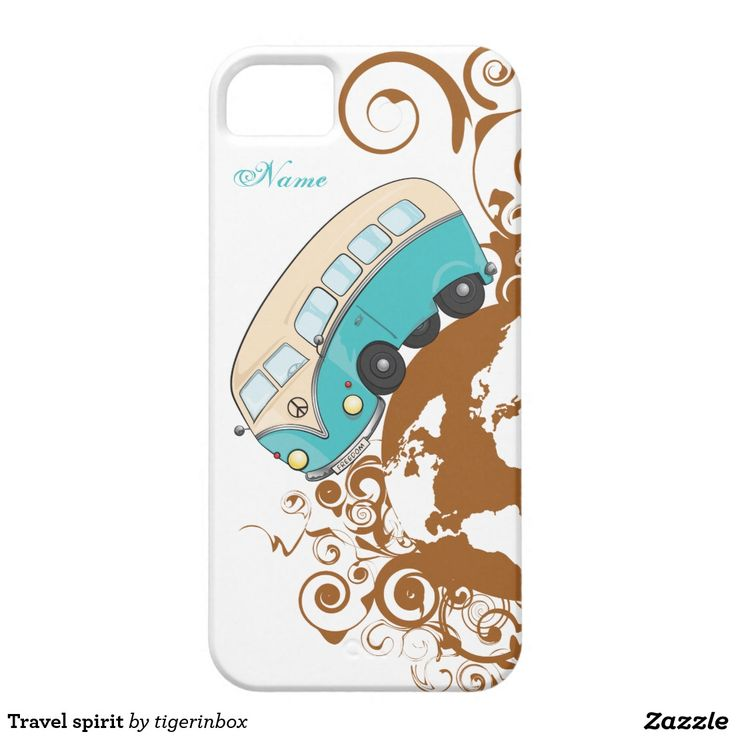 iPhone SE + iPhone 5/5S Case with customizable name. Durable & lightweight hard plastic case with Travel Spirit illustration, a minivan travelling around the world