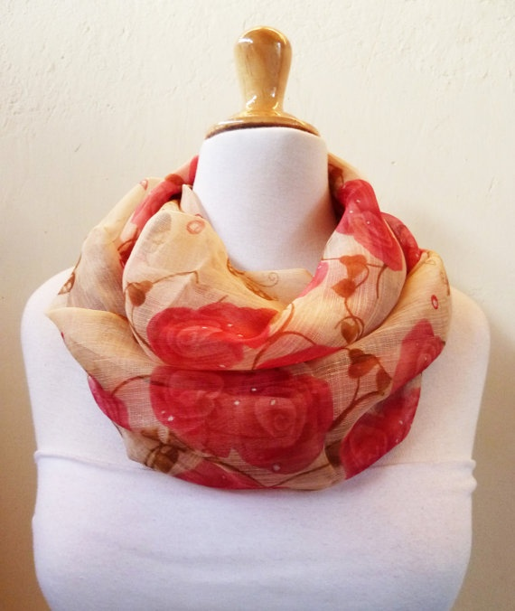 Chiffon loop scarf RED BEIGE patterned  by OriginalDesignsByAR, $13.00