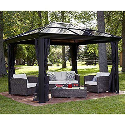 Gazebo Canopy. Pergola. This 10 x 12 Hardtop Gazebo Tent Has A Metal Gazebo Frame And Durable Polycarbonate Roof. The Gazebo Canopy Is A Screened Gazebo With Mosquito Netting. The Gazebo Kit Acts As A Backyard Gazebo Pergola Or Pergola Canopy.