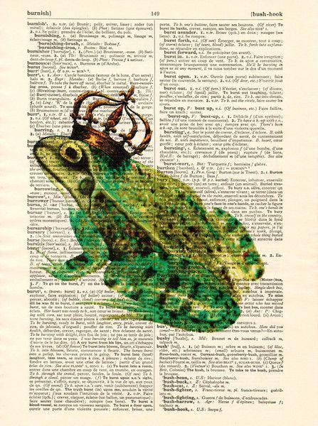 Originele prints - Be mine forever gekroond kikkerkunst woordenboek - Een uniek…
