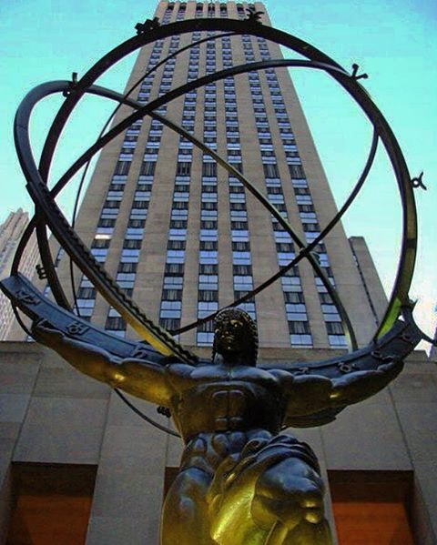 Adrian28Fly — #atlas is a #bronze #statue in #front  of the...